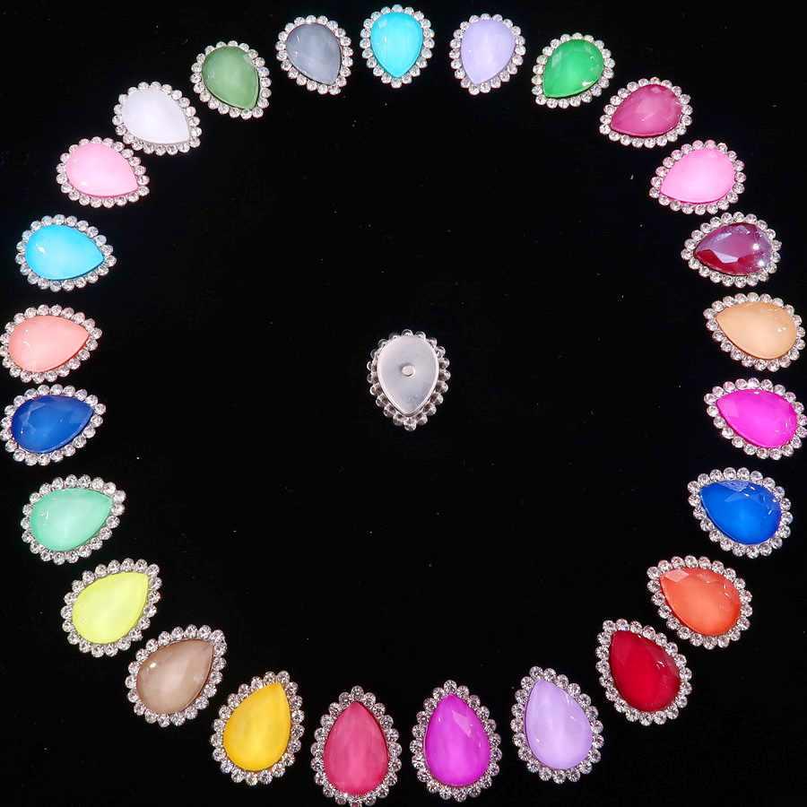 Silver claw settings 7x10 10x14 13x18mm jelly candy & AB colors glass Crystal waterdrop Sew on rhinestone wedding dress diy trim