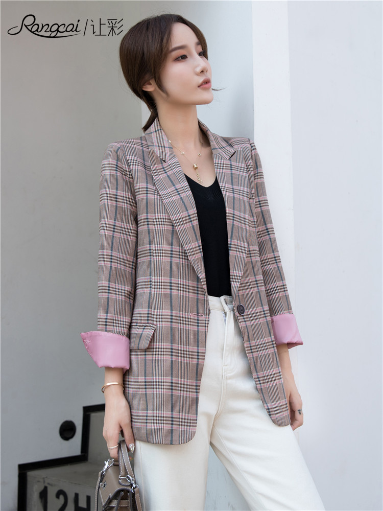 Plaid Pink Vintage Ladies Blazer Long Sleeve Loose Casual Suit Jacket Bleyser Mujer Korean Stylish Women's Clothing New MM60NXZ