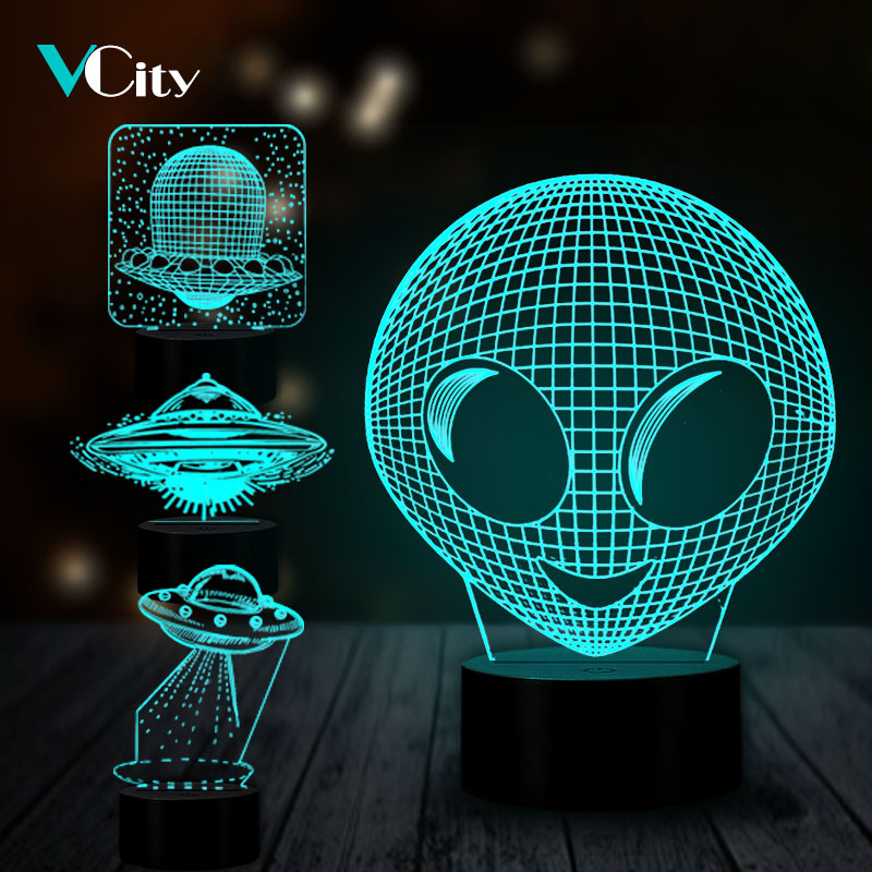 VCity 3D Alien UFO Series LED Lamp Hologram Illusion Unique Nightlight Kid's Creative Novelty Gifts Home Bedroom Sleeping Decor