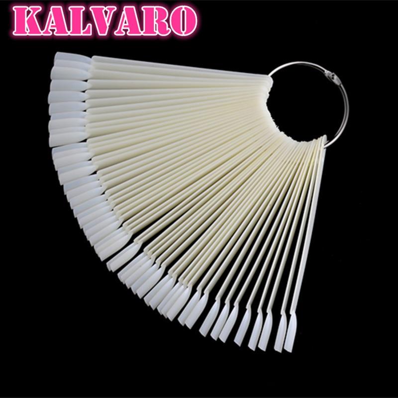 Kalvaro 50pcs False Nail Art Tips Sets Fan Shape Display Tools Polish Gel Nail Polish Organizer Practice Tool Nail Color Sample