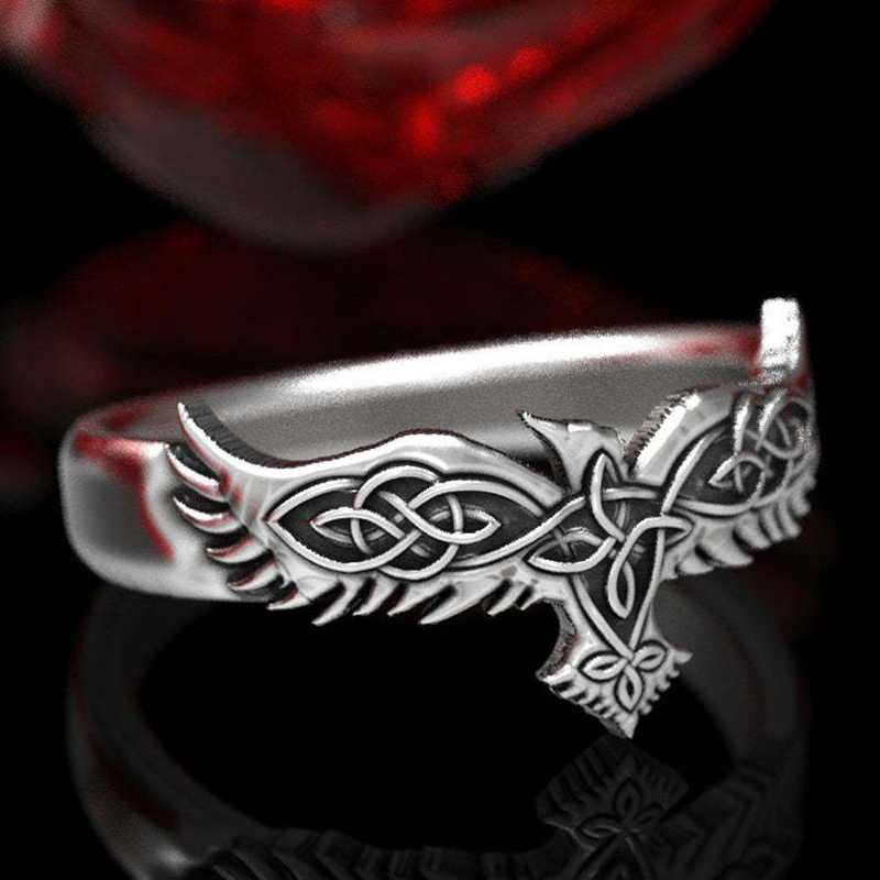 バイキング男性レイブンズゴシックリング北欧神話シルバー色オーディンカラスイーグルトーテムリング北欧お守りパンク動物ジュエリー 2020