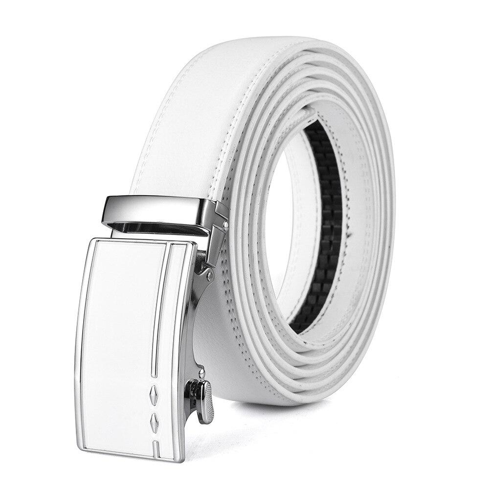 140 150 160 180cm White Automatic Buckle Designer Belts Men Genuine Leather Belt Luxury Brand Cowskin Waist Strap Ceinture Homme