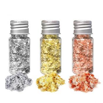Imitacja złota płatki liści płatki miedziane do szybowania sztuka i rękodzieło dekoracje srebrne miedziane złote fragmenty folii złote płatki Craft tanie i dobre opinie CN (pochodzenie) Craft Paper dropshipping