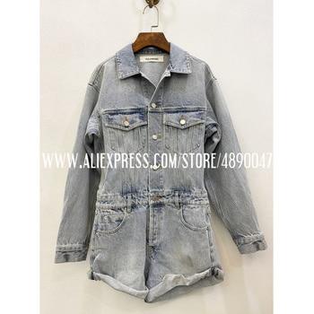 Button sexy denim jumpsuit shorts ladies quality Street Fashion jumpsuit pocket summer jeans overalls casual jumpsuit фото