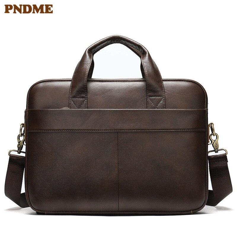 PNDME Vintage Genuine Leather Men's Briefcase Casual Business Handbag Soft Cowhide 15.6-inch Laptop Shoulder Messenger Bags