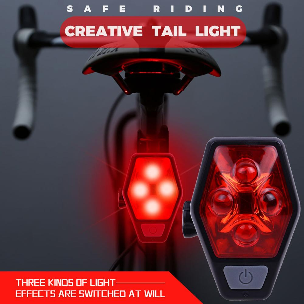 4 Modes USB Rechargeable Bike Tail Light Bicycle MTB Cycling Warning Rear Lamp