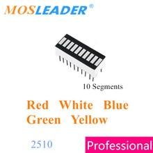 Mosleader 100 قطعة 10 قطاعات العرض الرقمي 2510 DIP20 أحمر أبيض أزرق أخضر أصفر بارغراف عمود إضاءة LED الرسم البياني 10 قطعة العرض