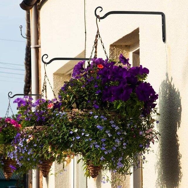 2 Pack Wall Hook Hanging Plant Bracket Decorative Straight Plant Hanger for Bird Feeders, Planters, Lanterns