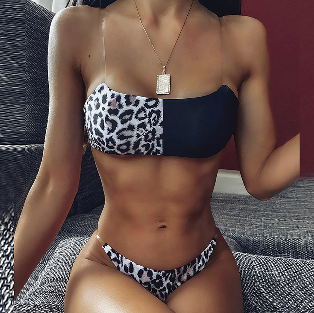 Swimsuit Women's Bikini Leopard Set Two Piece Filled Bra Beachwear Swimming pool Sea Daily swimwear women bikinis 2020 mujer#Y20 1