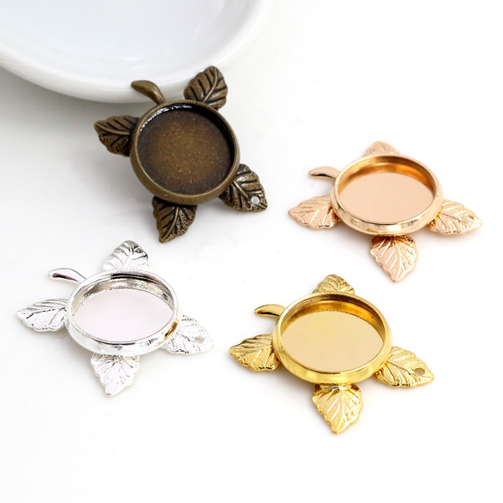 10pcs 12mm Inner Size 4 Colors Plated Brass Material Leaf Style Cabochon Base Cameo Setting Charms Pendant Tray