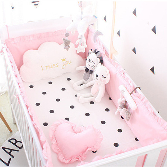 5pcs Pink Baby Bedding Bed Fence Infant Cushion Cotton Safety Protection Baby Bumpers Cushion Room Decor ,4bumper+sheet