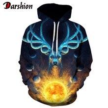 Christmas 3D Deer Printed Hoodie Men Women Autumn Winter Hooded Sweatshirt Pullover with Pocket Hip Hop Clothing Plus Size 4XL