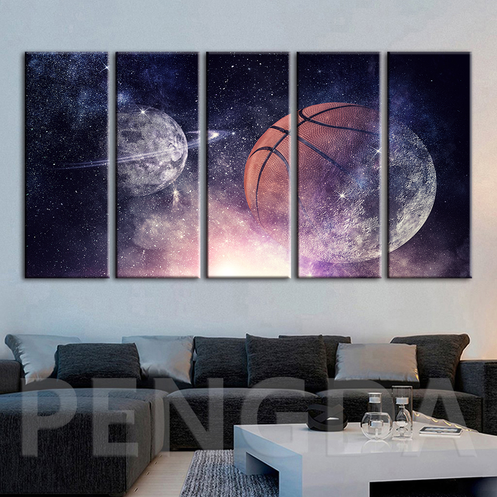 Wall Art Home Decoration Hd Prints PaintingCosmic Planet Basketball Pictures Modular Canvas Modern Poster For Living Room Framed no frame canvas
