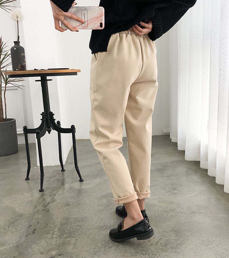H9e23ba3bcf284347b2ab74b8274067a99 - Thicken Women Pencil Pants Autumn Winter Plus Size OL Style Wool Female Work Suit Pant Loose Female Trousers Capris 6648 50