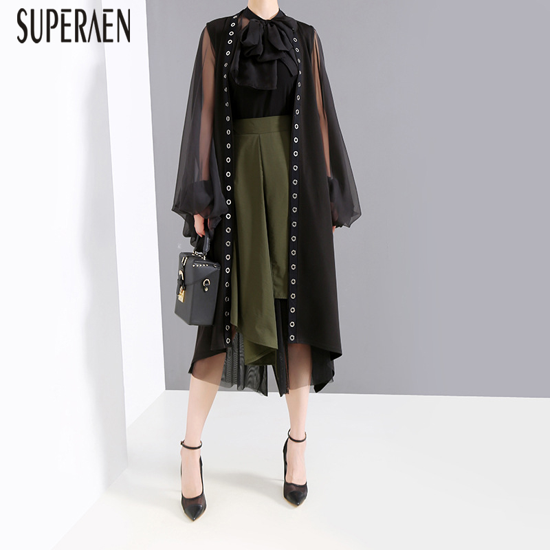 SuperAen 2019 New Ring Women's Sleeveless Windbreaker Summer Wild Casual Fashion   Trench   Coat for Women Europe Women Clothing