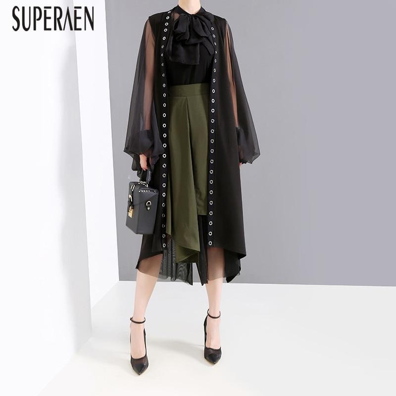 SuperAen 2019 New Ring Women's Sleeveless Windbreaker Summer Wild Casual Fashion   Trench   Coat for Women Europe Women Clothing