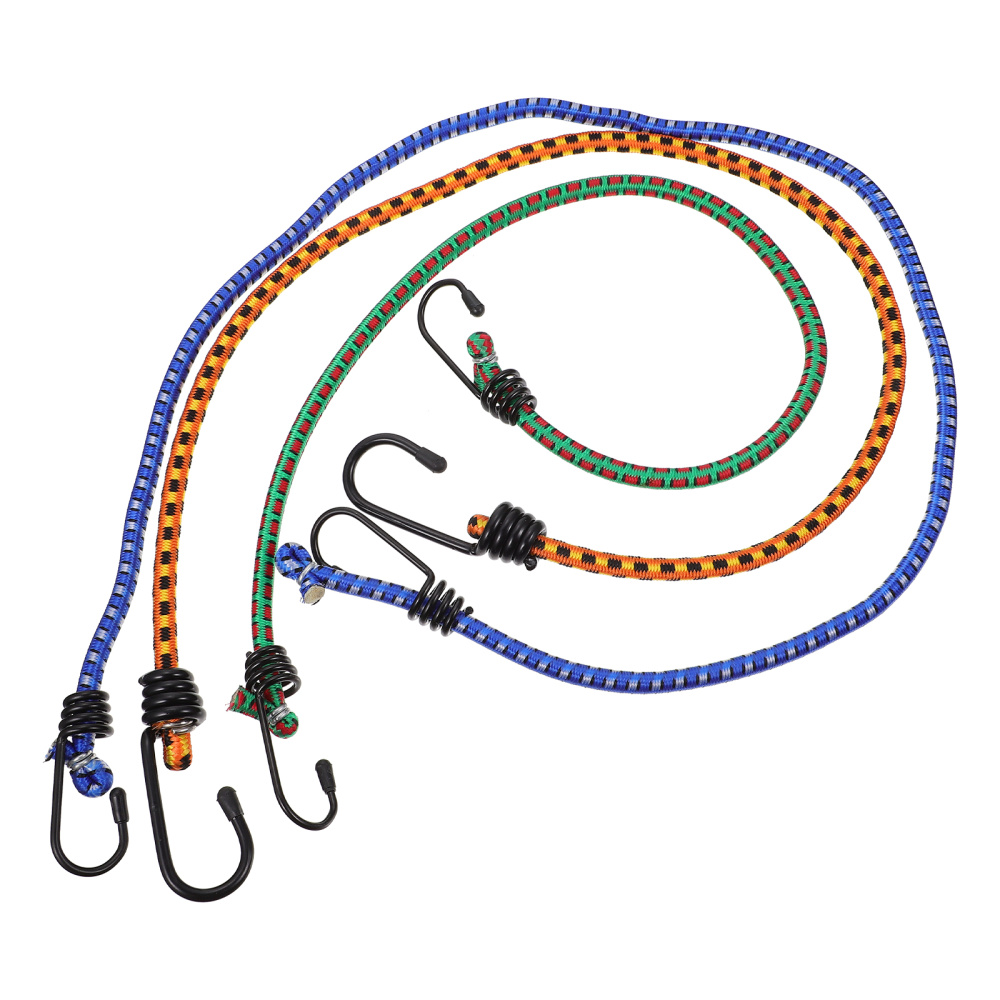3pcs Camping Luggage Bungee Cord High Elasticity Rubber Tied Rope With Hooks