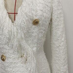 Image 4 - ハイストリート 2020 スタイリッシュなデザイナードレス女性の V ネックダブルブレストライオンボタン房ツイードドレス