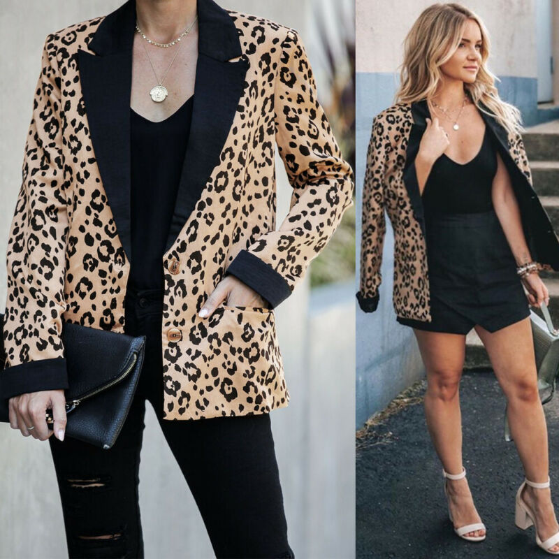 Women Lady Leopard Coat Long Sleeve Jacket Winter Faux Fur Blazers Coat Long Sleeve Casual  Lapel Outwear Blazer Slim Tops