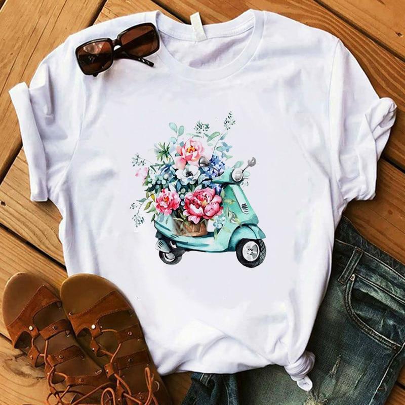 Women Paris Style T Shirt Lady Floral Earring Pink High Heel Cat Tops Gift Harajuku T-shirt Camiseta Mujer 2020
