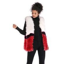 2019 New Fashion Color Matching Faux Fur Vest Jacket Womens Plush Warm Top