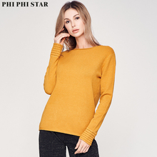 Phi Star Brand Round Neck Solid Women Sweaters Pullovers Loose Knitted Autumn Winter Clothing Casual