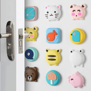 Silicone Self Adhesive Cartoon Door Stopper Wall Protectors Door Handle Bumpers Buffer Guard Stoppers Silencer Crash Pad
