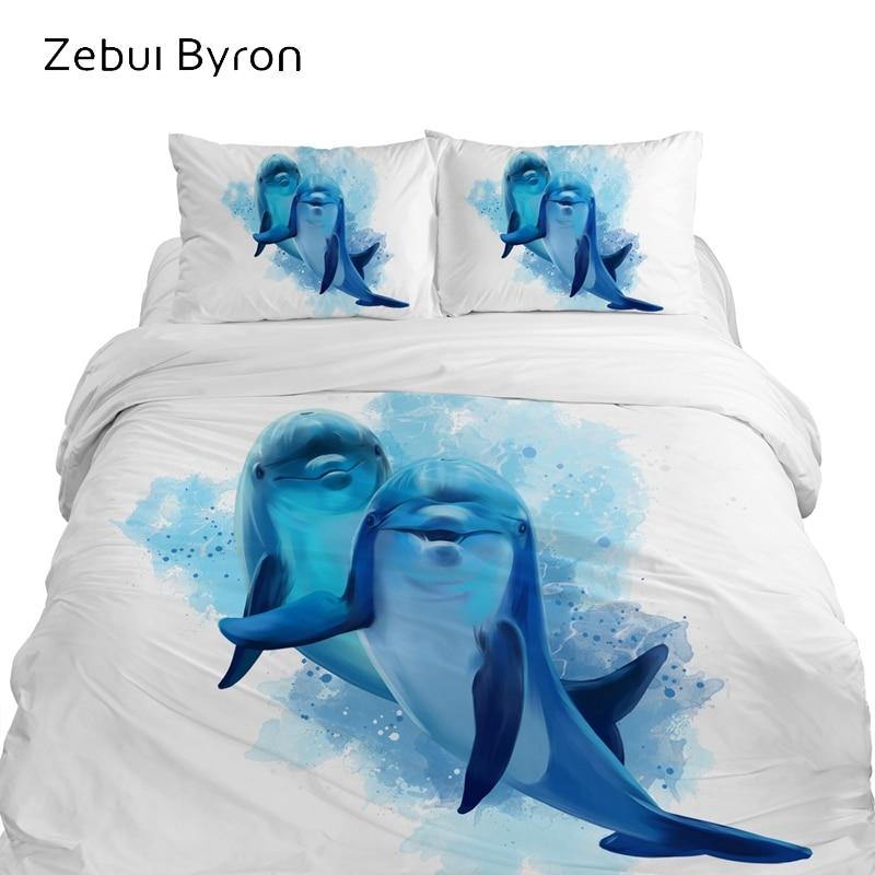 3D Cartoon Kids Bedding Sets,bed Set King/Queen Size,baby/Children Duvet Cover Set ,Blanket/Quilt Cover Set Animal Dolphin