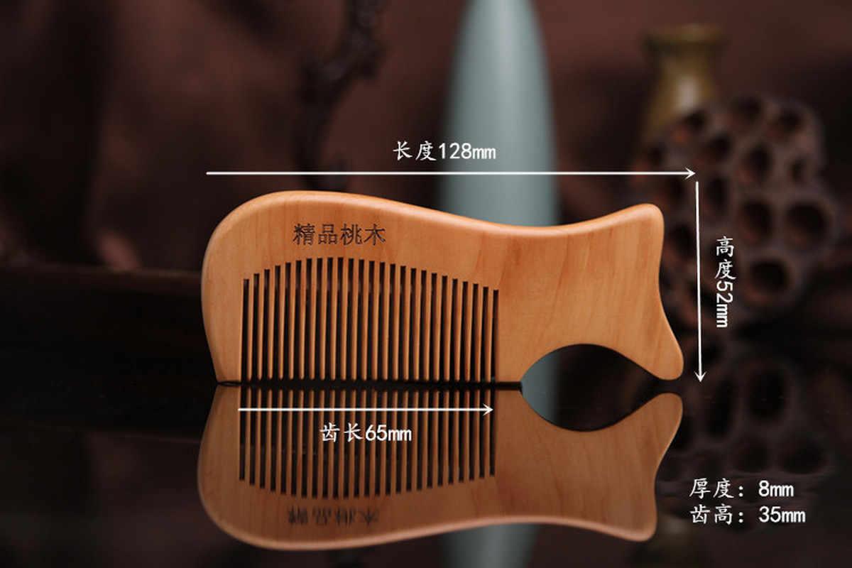 1 pc 天然桃木製の櫛クローズ歯帯電防止ヘッドマッサージヘアケア木製ツール美容アクセサリー