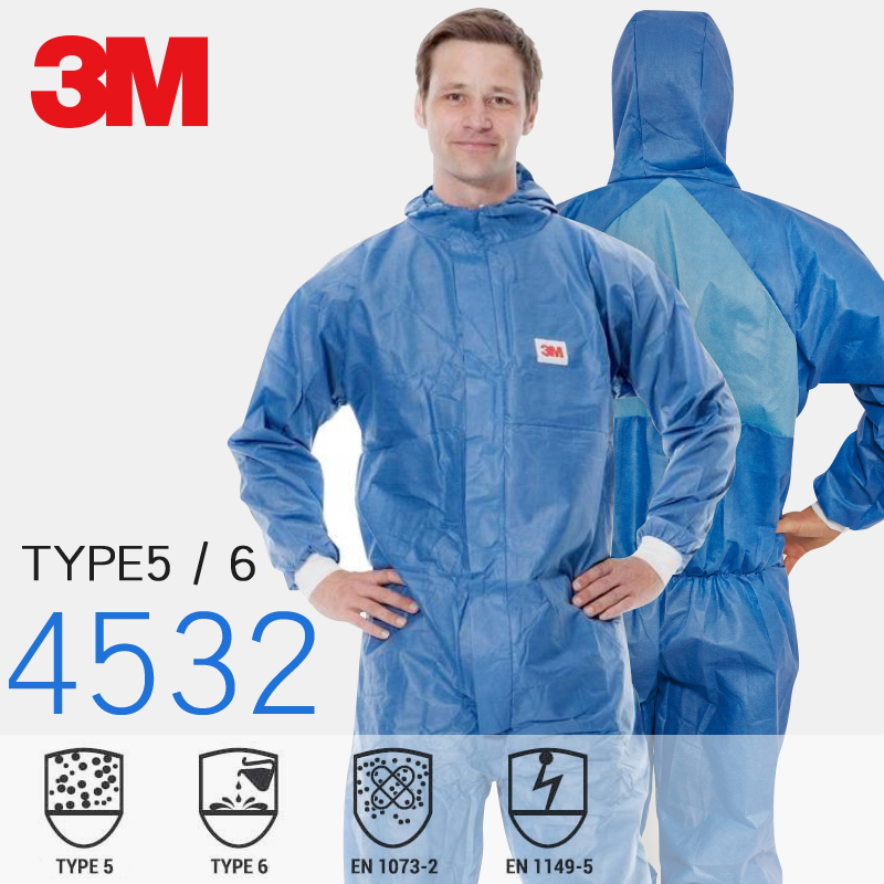 3M Type 5 Type 6 Disposable Coverall Protective Clothing Hooded Dust-proof Breathable Coveralls Laboratory Personal Safety Suit