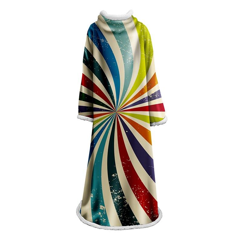 Mode couleur manches couvertures décontracté Wrap cape 3D arc-en-ciel manches couverture doux chaud adulte portable microfibre couette en plein air