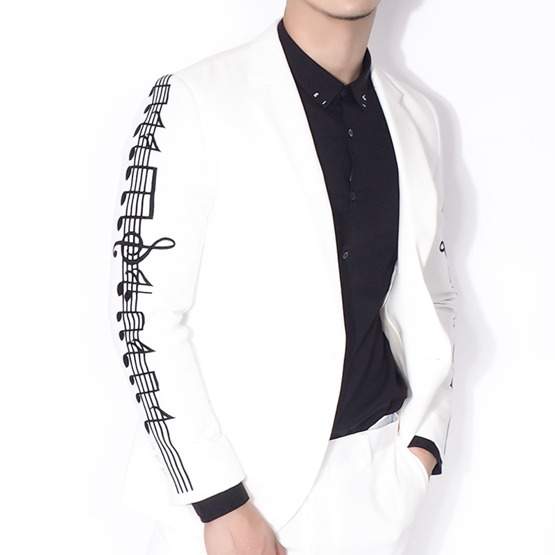 Embroidery White Man's Suit Single Western Men Blazer Homme Stage Stagewear Man Suit Dress Masculino Suit Jacket Terno Masculino