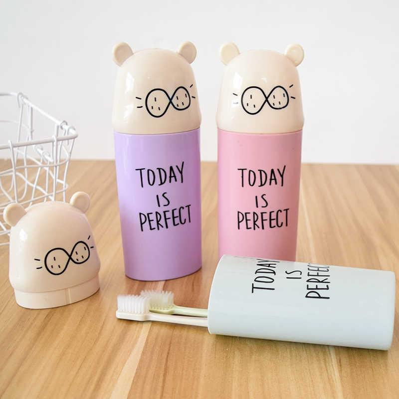 1pc Tragbare Reise Zahnbürste Tasse Lagerung Box Organisieren Geschenk Boxen Kunststoff Zahnpasta Halter Zahnbürste Waschen Gurgeln Tasse Reise