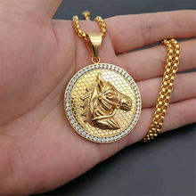 Stainless Steel Horse Head Necklace Pendant With Chain And Gold Color Iced Out Bling Hip Hop Jockey Club Round Jewelry S1654