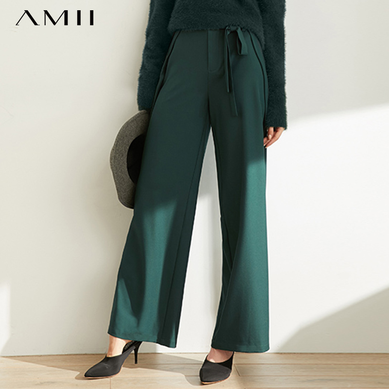 Amii Autumn Fashion Women Wide Leg Pants Female Casual Solid Loose Strap Trousers 11970401