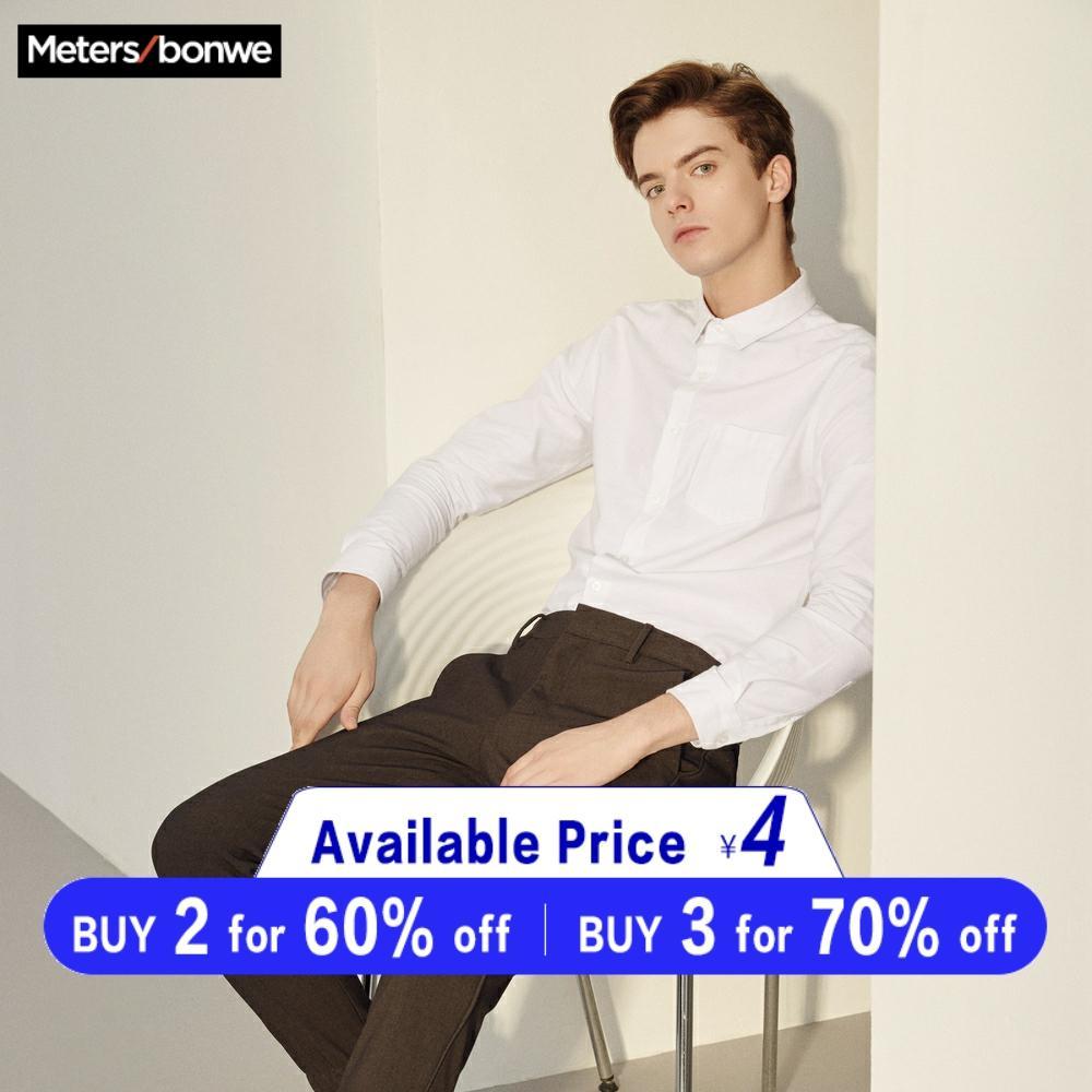 Metersbonwe Brand Men Smart Casual Shirts 2019 Spring Autumn Male Slim Long Sleeve Shirts Regular Cotton Male Basic Tops