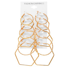 New Rock Exaggerated Earring Geometric Polygon  For Women Gold Color Female Fashion Jewelry