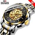 HAIQIN  модные механические часы  мужские золотые наручные часы со скелетом  мужские часы  Топ бренд  роскошные часы  мужские деловые часы  Reloj ...