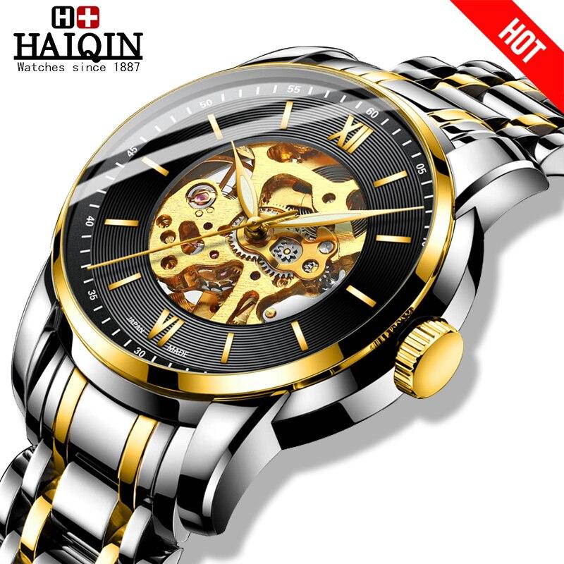 HAIQIN Fashion mechanical watch men Gold skeleton wristwatch mens watches top brand luxury watch men Business Reloj hombres 2019