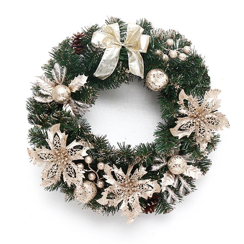 40cm Beautiful Elegant Hanging Christmas Wreath Garland  Glitter Flower Fruit Ball Cone Xmas Ornaments Window Door