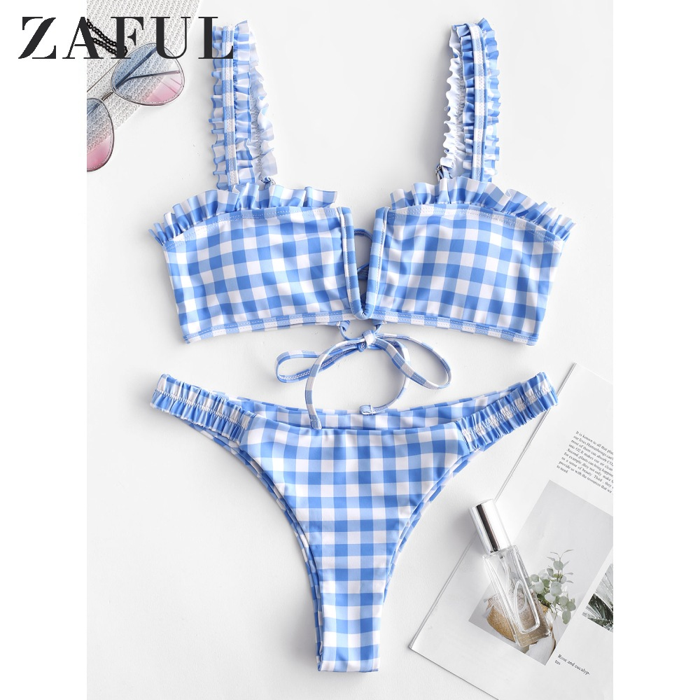 ZAFUL Plaid V Wired Ruffle Bikini Set For Women Wire Free Straps Swimsuits Low Waisted Padded Summer Two Pieces Bathing Suits