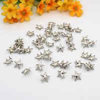 200 piezas de metal de 15mm Chapado en plata estrella remache espiga Punk DIY Dropshipping Punk remache para ropa decorativa