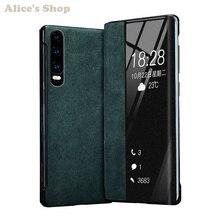 Luxe Originele Duurzaam Echt Leer Case Voor Huawei P30/ Pro Mode Display Bekijk Smart Flip Case Cover Voor Huawei p30 Pro