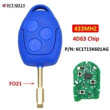 Дистанционный ключ с 3 кнопками, умный Автомобильный ключ 433 МГц, чип 4D63 FO21, необработанное лезвие P/N: 6C1T15K601AG для Ford Transit WM VM 2006 - 2014