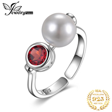 JewelryPalace Genuine Red Garnet Shell Pearl Ring 925 Sterling Silver Rings for Women Party Stackable Jewelry