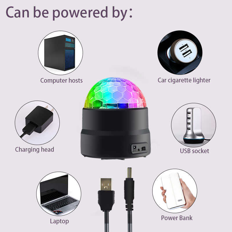 Mobil LED Panggung Lampu RGB Bola Disko 5 V USB Pengisian Magic Ball Light Suara Mengaktifkan Memutar Family KTV Natal pesta DJ Light