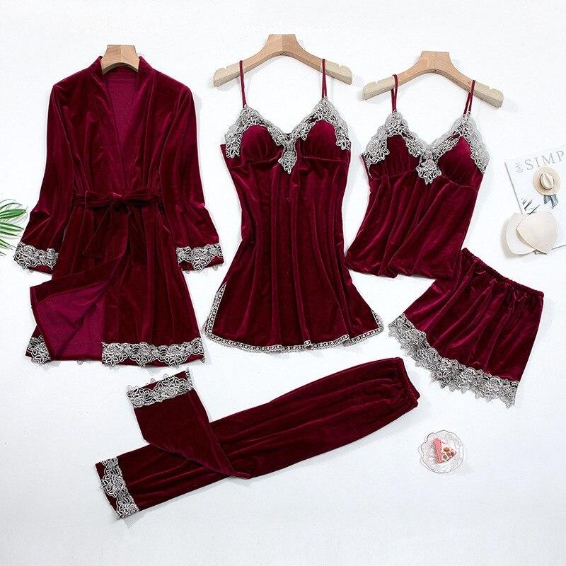 Lace Patchwork Female Kimono Bathrobe Gown Nightwear Sexy Velvet Nightdress Sleepwear Classic Burgundy 5PCS Robe Suit Homewear|Robes|   - AliExpress