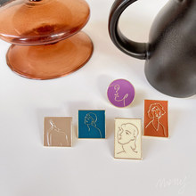 European And American Style Metal Face Abstract Earrings Personality Retro Geometric Glaze Stud Earrings Girl Jewelry