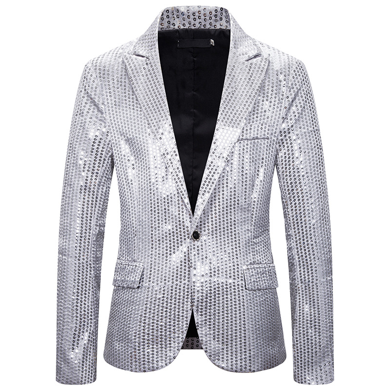 2020 Silver/Red Sequined Blazer Men Suit Jacket Designs Mens Stage Singers Clothes Dance Star Style Dress Masculino Homme