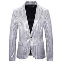 2020 Silver/Red Sequined Blazer Men Suit Jacket Designs Mens Stage Singers Cloth
